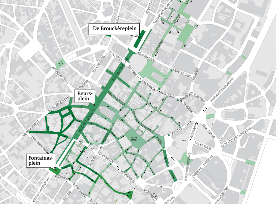 Brussel pedestrian zone plan